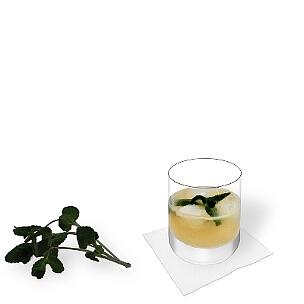 Whisky Sour im Whisky-Glas mit Pfefferminz Dekoration, die übliche Art diesen leckeren Sour zu servieren.